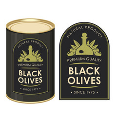 A tin can with label black olives vector