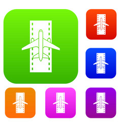 airplane on the runway set collection vector image