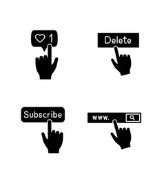 app buttons glyph icons set vector image