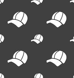 Ball cap icon sign Seamless pattern on a gray vector image