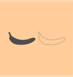 Banana dark grey set icon vector