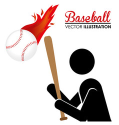 Baseball sport with player silhouette and ball vector