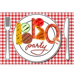 BBQ party card vector