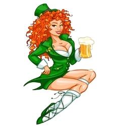 Beautiful Irish girl with beer vector