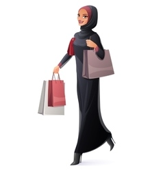 Beautiful Muslim woman in hijab walking vector