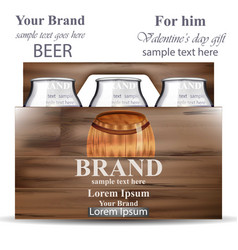 Beer bottles in wooden box product packaging vector