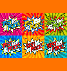 Best price labels comic book style stickers sale vector