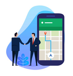 Business man hand shake with point on smartphone vector