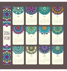 Calendar 2016 with mandalas vector