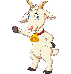 cartoon funny goat presenting vector image