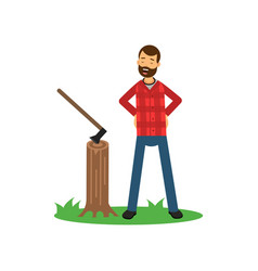 Cartoon woodcutter character standing on green vector