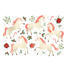 Christmas set with unicorn on vector