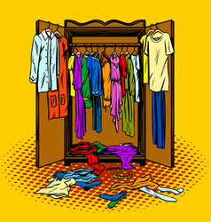 Clothes in a wardrobe comic book style vector