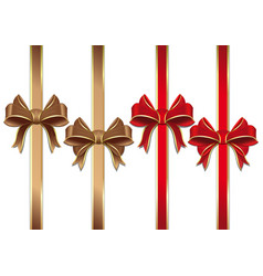 collection of gold and red ribbons with bows vector image