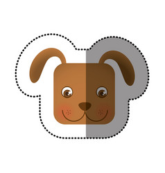 Colorful face sticker of dog in square shape vector
