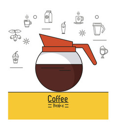 Colorful poster of coffee brake with kettle of vector
