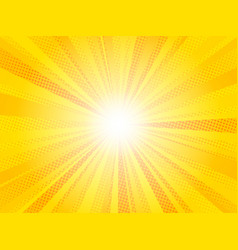 Comic yellow sun rays background pop art retro vector