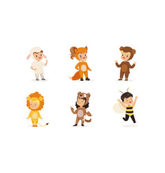 Cute adorable kids wearing animal costumes set vector
