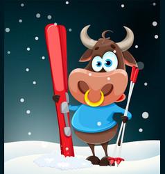 cute bull symbol chinese new year 2021 vector image