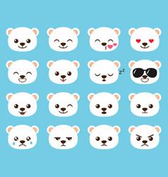 cute cartoon bear emoj vector image