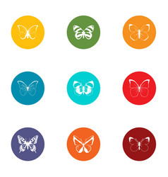 Cutworm icons set flat style vector