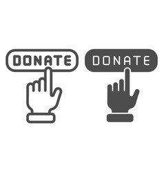 Donate button line and glyph icon help vector