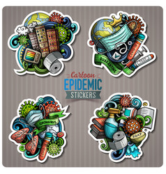doodle cartoon set epidemic theme stickers vector image