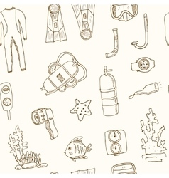 Doodle seamless pattern of diving tools vintage vector