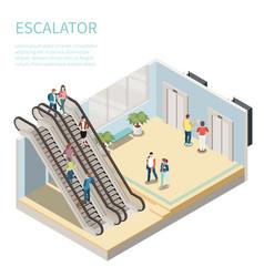 Escalator isometric composition vector