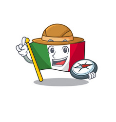 Explorer italy flags isolated wth cartoon vector
