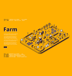 Farm isometric landing page with farmers working vector