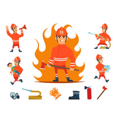 firemen and equipments fireman profession working vector image