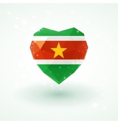 Flag of Suriname in shape diamond glass heart vector image