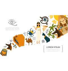 flat egypt symbols concept vector image