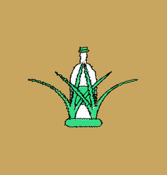 Flat shading style icon bottle in grass vector