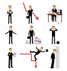 Frustrated businessman character set business and vector