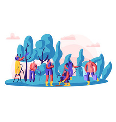gardener characters at work man and woman vector image