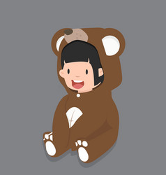 girl characters in bear costume vector image