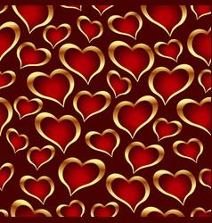 golden hearts background vector image