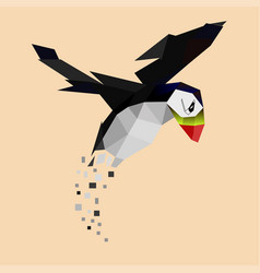 Gradually disappearing flying puffin vector