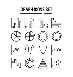 graph and diagram icon in outline design for web vector image