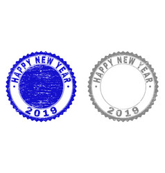 grunge happy new year 2019 scratched stamp seals vector image