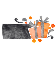 halloween gift box banner watercolor vector image
