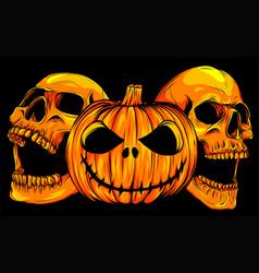 halloween pumpkin with skulls vector image