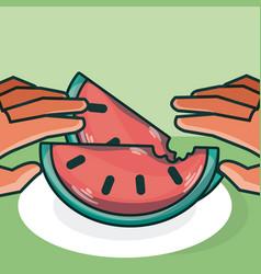 Hands grabbing watermelon vector