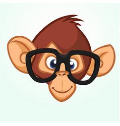 Happy cartoon monkey head wearing glasses vector