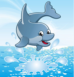happy cute smiling jumping cartoon dolphin vector image