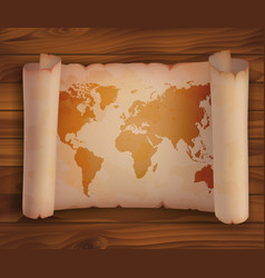 Horizontal scroll paper parchment with world map vector