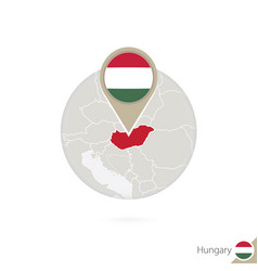 Hungary map and flag in circle map hungary vector