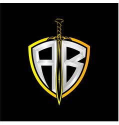 Initials a b is a shield decorated vector